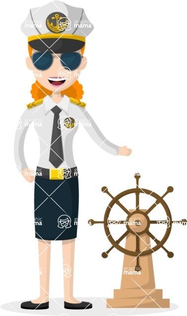 Woman in Uniform Vector Cartoon Graphics Maker - Captain woman