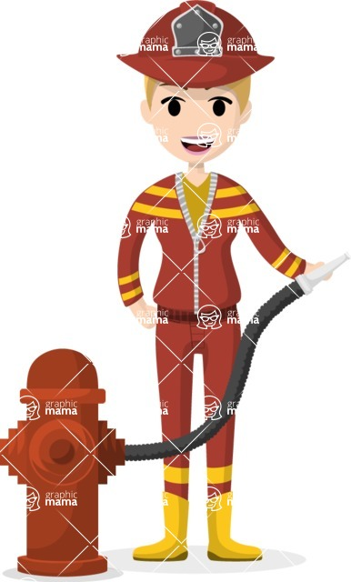 Woman in Uniform Vector Cartoon Graphics Maker - Firefighter woman with hose