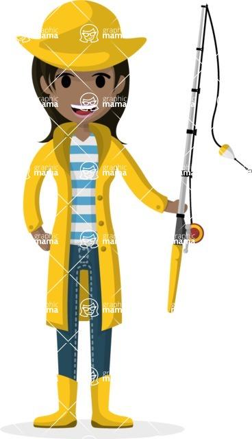 Woman in Uniform Vector Cartoon Graphics Maker - Fisherwoman with hook