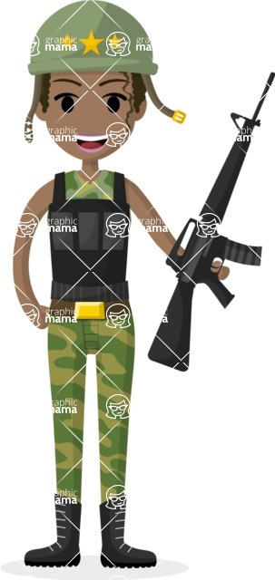 Woman in Uniform Vector Cartoon Graphics Maker - African American female soldier
