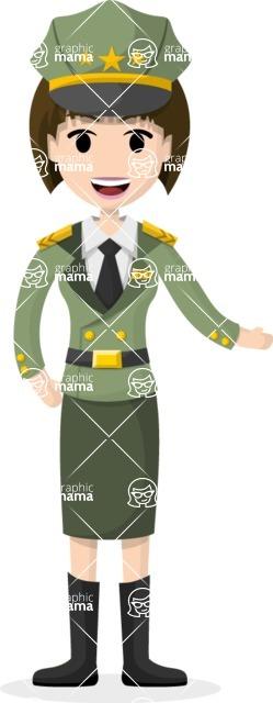 Woman in Uniform Vector Cartoon Graphics Maker - Officer woman