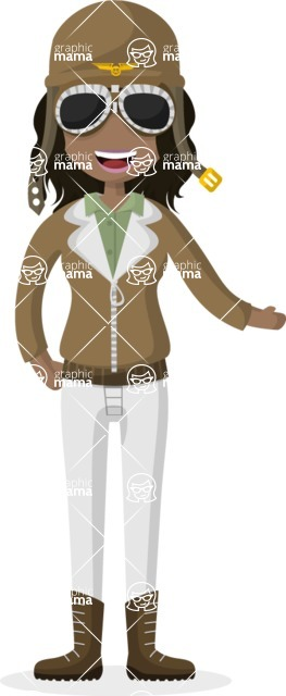 Woman in Uniform Vector Cartoon Graphics Maker - Female pilot