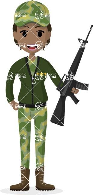 Woman in Uniform Vector Cartoon Graphics Maker - Military woman with gun