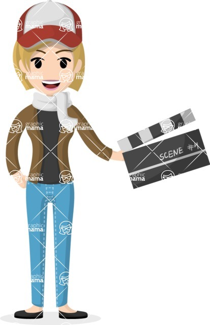 Woman in Uniform Vector Cartoon Graphics Maker - Assistant girl with movie clapper