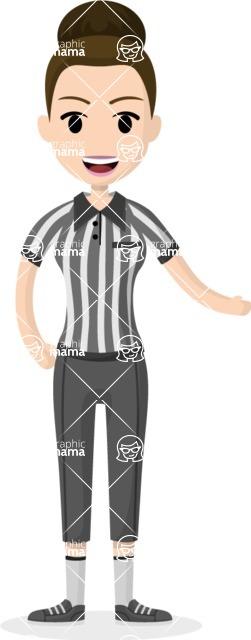Woman in Uniform Vector Cartoon Graphics Maker - Woman referee in uniform with hair bun