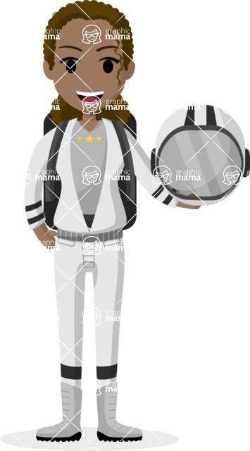 Woman in Uniform Vector Cartoon Graphics Maker - African American astronaut woman