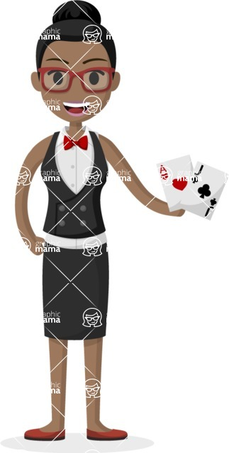 Woman in Uniform Vector Cartoon Graphics Maker - African American croupier lady
