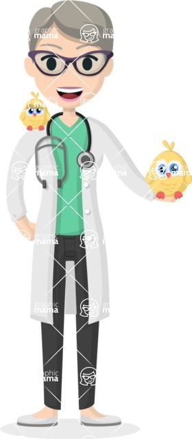 Woman in Uniform Vector Cartoon Graphics Maker - Vet woman with chickens
