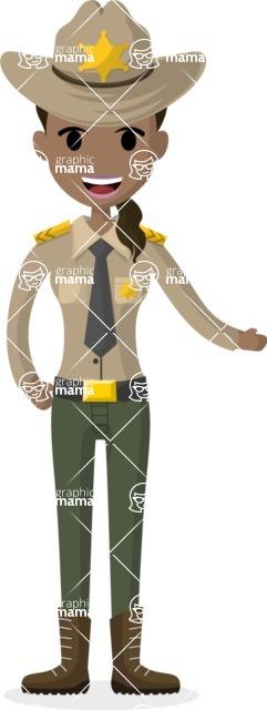 Woman in Uniform Vector Cartoon Graphics Maker - Sheriff woman