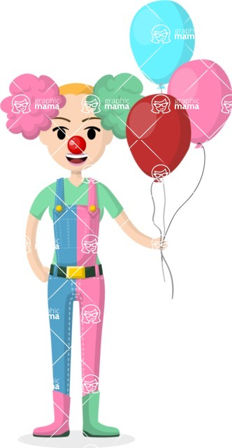 Woman in Uniform Vector Cartoon Graphics Maker - Girl clown