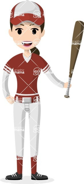 Woman in Uniform Vector Cartoon Graphics Maker - Baseball player girl