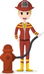 My Career: Vector Girls - Firefighter woman with hose