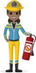 My Career: Vector Girls - African American female firefighter