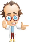 Professor Chemist Cartoon Scientist Vector Character AKA Professor Nuts-chmitz - Direct Attention
