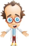 Professor Chemist Cartoon Scientist Vector Character AKA Professor Nuts-chmitz - Shocked