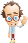Professor Chemist Cartoon Scientist Vector Character AKA Professor Nuts-chmitz - Hello