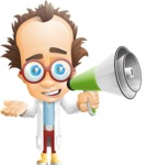 Professor Chemist Cartoon Scientist Vector Character AKA Professor Nuts-chmitz - Loudspeaker