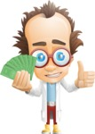 Professor Chemist Cartoon Scientist Vector Character AKA Professor Nuts-chmitz - Show me the money