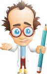Professor Chemist Cartoon Scientist Vector Character AKA Professor Nuts-chmitz - Pencil