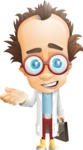 Professor Chemist Cartoon Scientist Vector Character AKA Professor Nuts-chmitz - Briefcase