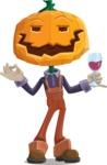 Farm Scarecrow Cartoon Vector Character AKA Peet Pumpkinhead - At Night Drinking Glass of Wine