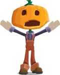 Farm Scarecrow Cartoon Vector Character AKA Peet Pumpkinhead - Being Afraid