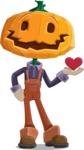Farm Scarecrow Cartoon Vector Character AKA Peet Pumpkinhead - Being Cute with Love Heart