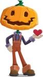 Farm Scarecrow Cartoon Vector Character AKA Peet Pumpkinhead - Being Cute with Love Heart