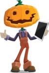 Farm Scarecrow Cartoon Vector Character AKA Peet Pumpkinhead - Being Modern with a Tablet