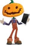 Farm Scarecrow Cartoon Vector Character AKA Peet Pumpkinhead - Being Modern with a Tablet