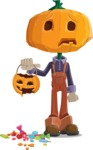 Farm Scarecrow Cartoon Vector Character AKA Peet Pumpkinhead - Being Sad With Broken Pumpkin Lantern