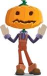 Farm Scarecrow Cartoon Vector Character AKA Peet Pumpkinhead - Being Scared