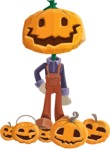 Farm Scarecrow Cartoon Vector Character AKA Peet Pumpkinhead - Celebrating Halloween With Pumpkins