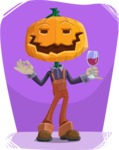 Farm Scarecrow Cartoon Vector Character AKA Peet Pumpkinhead - Chilling with Flat Background