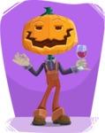 Farm Scarecrow Cartoon Vector Character AKA Peet Pumpkinhead - Chilling with Flat Background