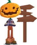 Farm Scarecrow Cartoon Vector Character AKA Peet Pumpkinhead - Choosing a Way To Go