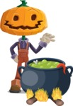 Farm Scarecrow Cartoon Vector Character AKA Peet Pumpkinhead - Cooking in a Caldron