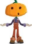 Farm Scarecrow Cartoon Vector Character AKA Peet Pumpkinhead - Feeling Confused