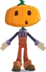 Farm Scarecrow Cartoon Vector Character AKA Peet Pumpkinhead - Feeling Lost