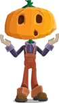 Farm Scarecrow Cartoon Vector Character AKA Peet Pumpkinhead - Feeling Shocked