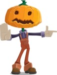 Farm Scarecrow Cartoon Vector Character AKA Peet Pumpkinhead - Finger Pointing with Angry Face