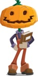 Farm Scarecrow Cartoon Vector Character AKA Peet Pumpkinhead - Holding a Book