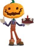 Farm Scarecrow Cartoon Vector Character AKA Peet Pumpkinhead - Holding a Halloween Cake
