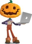 Farm Scarecrow Cartoon Vector Character AKA Peet Pumpkinhead - Holding a Laptop