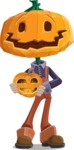 Farm Scarecrow Cartoon Vector Character AKA Peet Pumpkinhead - Holding a Pumpkin Lantern