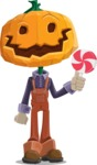 Farm Scarecrow Cartoon Vector Character AKA Peet Pumpkinhead - Holding a Treat