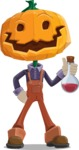 Farm Scarecrow Cartoon Vector Character AKA Peet Pumpkinhead - Holding Potion