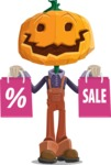 Farm Scarecrow Cartoon Vector Character AKA Peet Pumpkinhead - Holding Shopping Bags