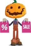 Farm Scarecrow Cartoon Vector Character AKA Peet Pumpkinhead - Holding Shopping Bags