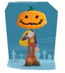 Farm Scarecrow Cartoon Vector Character AKA Peet Pumpkinhead - Illustration With Graveyard Background